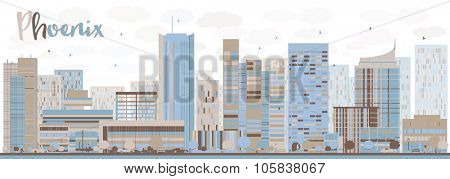 Abstract Phoenix Skyline with Color Buildings. Vector Illustration. Business travel and tourism concept with modern buildings. Image for presentation, banner, placard and web site.