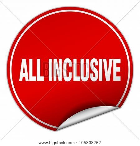 All Inclusive Round Red Sticker Isolated On White