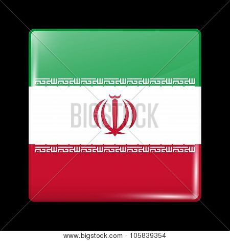 Flag Of Iran. Glassy Icon Square Shape