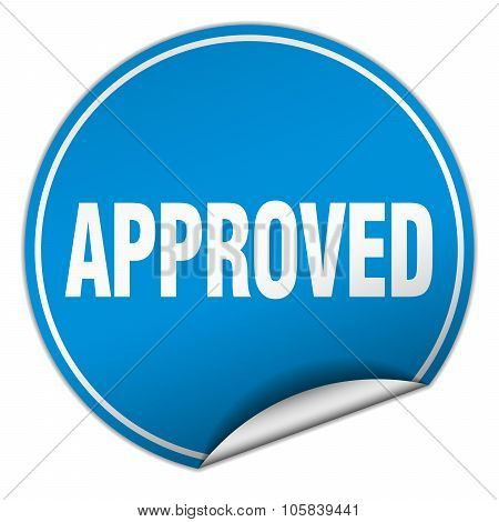 Approved Round Blue Sticker Isolated On White