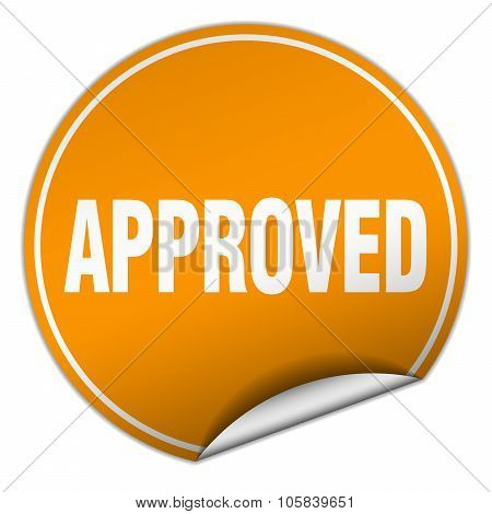 Approved Round Orange Sticker Isolated On White