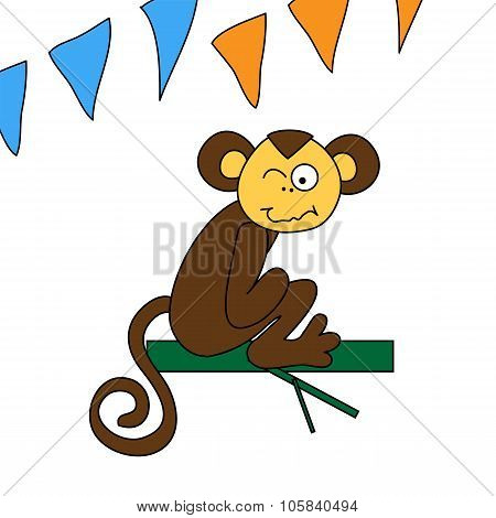 Funny Brown Monkey Sitting And Winks