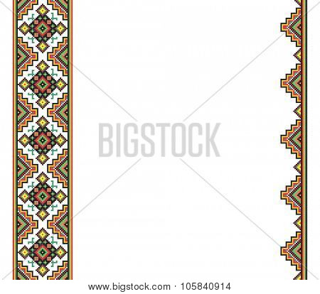 cross-stitch template background in folk style with space for text. embroidered good like handmade ethnic Ukraine pattern