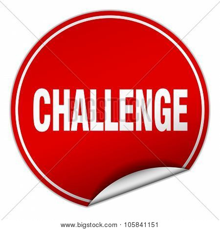 Challenge Round Red Sticker Isolated On White