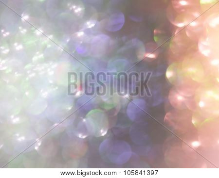 Holiday Abstract Blue And Orange Glitter Defocused Background With Blinking Stars