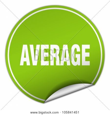 Average Round Green Sticker Isolated On White