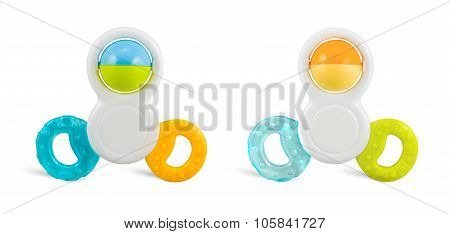 Two Colorfull Baby Rattle - Isolated On White