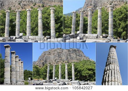 The ruins of the ancient city Priene in Turkey Temple of Artemis