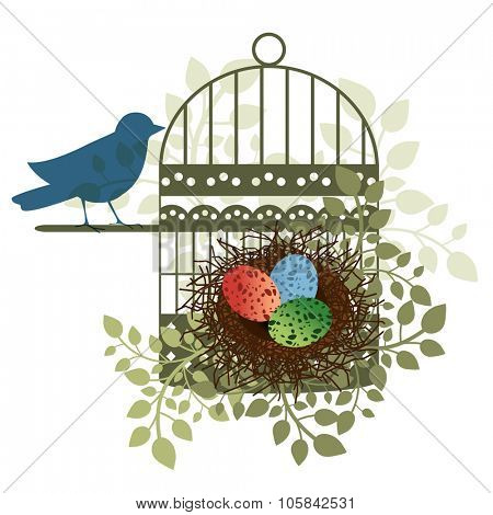 Bird perched on a birdcage overseeing her/his eggs