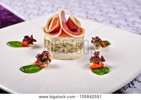 Close Up Aspic Turkey Breast With Gorgonzola Cheese, Lettuce, Basil, Restaurant Menu