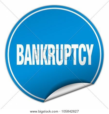 Bankruptcy Round Blue Sticker Isolated On White