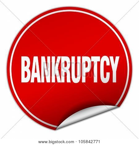 Bankruptcy Round Red Sticker Isolated On White