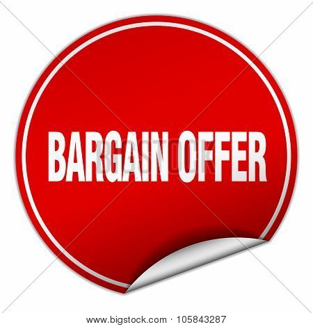 Bargain Offer Round Red Sticker Isolated On White