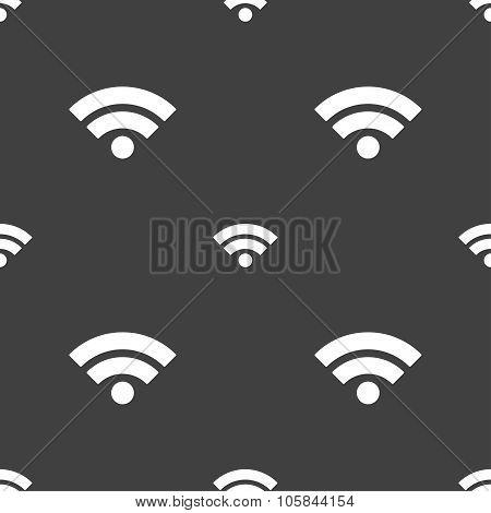 Wifi Sign. Wi-fi Symbol. Wireless Network Icon. Wifi Zone. Seamless Pattern On A Gray Background. Ve
