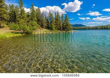 Majestic mountain lake in Canada. Anette Lake view in Jasper, Alberta, Canada. Rocky Mountains.