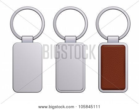 Realistic keychain pendant template.