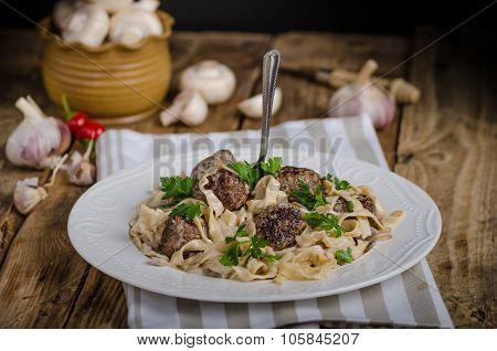 Homemade Tagliatelle With Meatballs