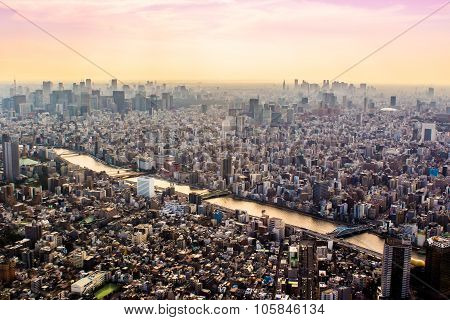 Aerial View Of Tokyo, Japan At Sunset