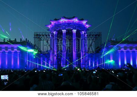 Illumination Of The Building - Light Show  In Moscow