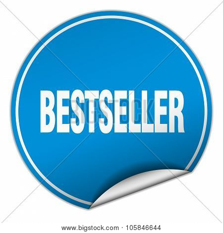 Bestseller Round Blue Sticker Isolated On White