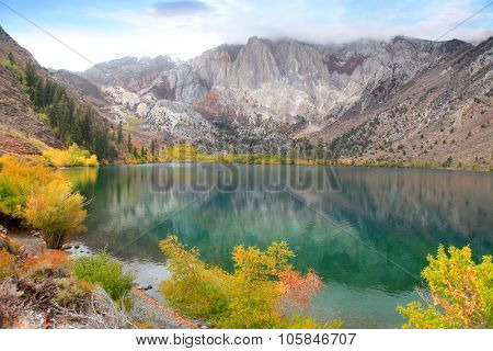 Convict lake is scenic recreation area in Sierra Nevada mountains.