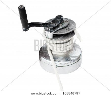 Sailboat winch and rope yacht detail isolated on white background