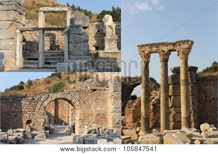 The ruins of the famous ancient city of Ephesus in Turkey, the object of UNESCO