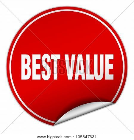 Best Value Round Red Sticker Isolated On White