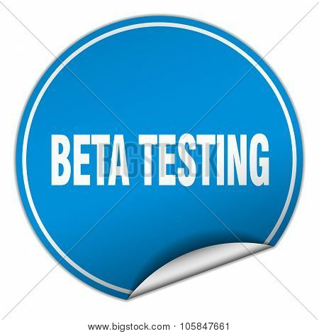Beta Testing Round Blue Sticker Isolated On White