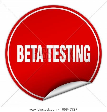 Beta Testing Round Red Sticker Isolated On White