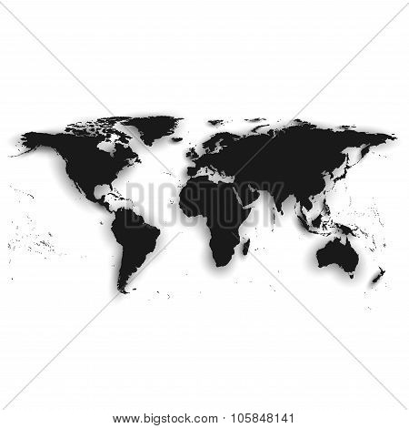 Detailed silhouette of black world map, vector illustration