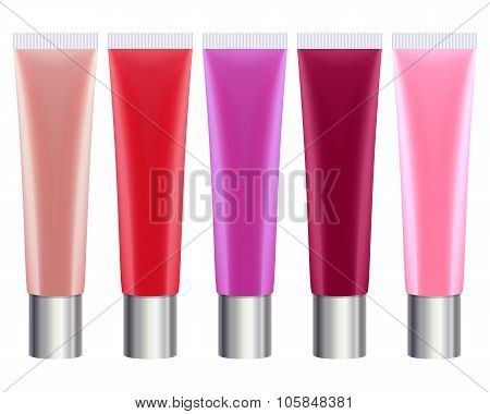 Colorful lip gloss tubes set.
