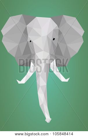 Low polygonal elephant head