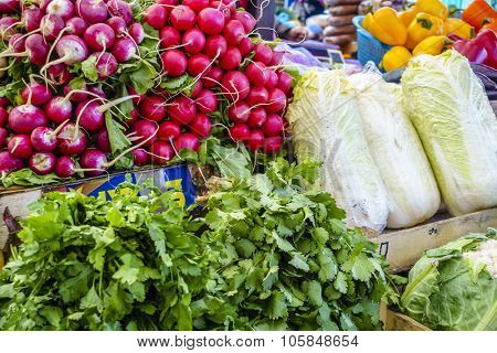 Fresh vegetables for sale at a farmers market in Pyatigorsk, Russia