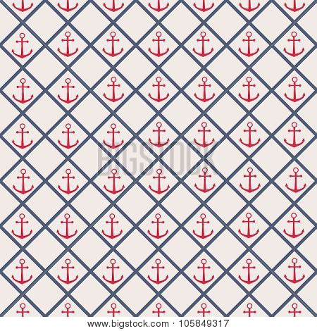 Seamless pattern with cross lines and anchor.