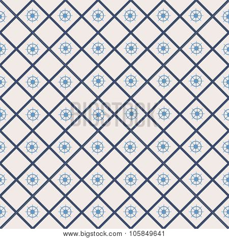 Seamless pattern with cross lines, steering wheel