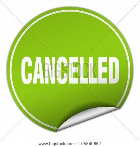 Cancelled Round Green Sticker Isolated On White