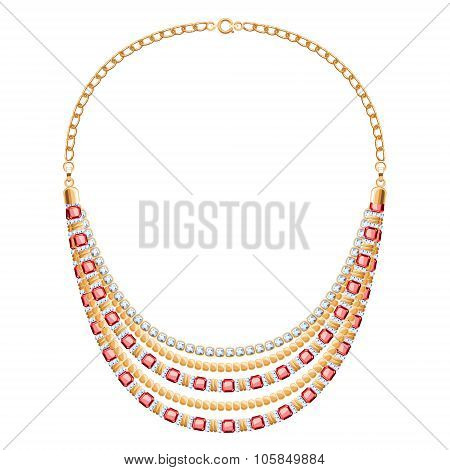 Many chains golden metallic necklace with diamonds and rubies.