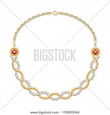 Twisted chains golden metallic necklace with diamonds and rubies.