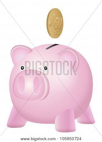 Piggy Bank Fifty Euro Cent