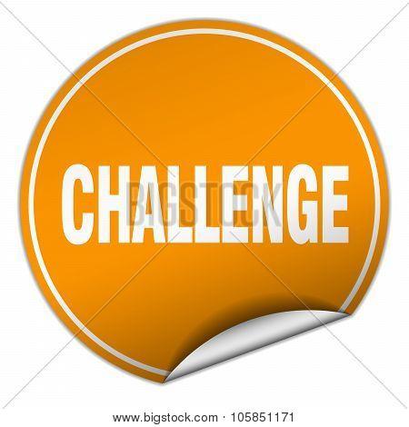 Challenge Round Orange Sticker Isolated On White