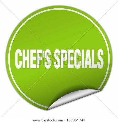 Chef's Specials Round Green Sticker Isolated On White