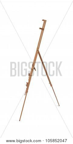 Wooden Painter Tripod Easel Isolated On Whit