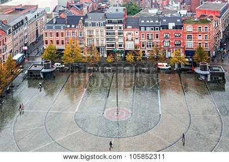 Aerial View Of Pedestrian Square In Leuven, Belgium, In Front Of The University, In A Rainy Day.