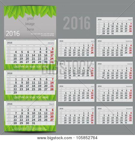 Vector calendar 2016 - Planner for three month
