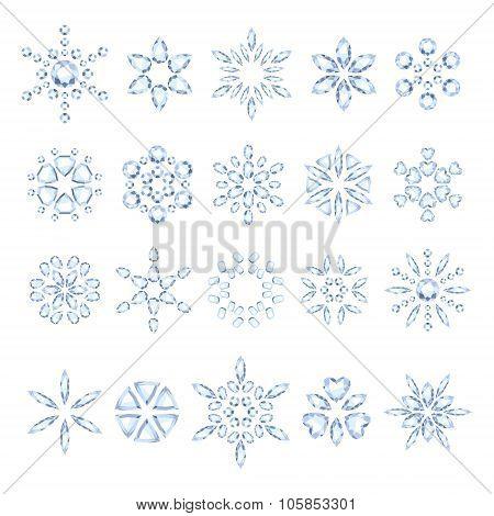 Diamond snowflakes set vector illustration.