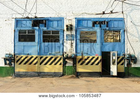Painted Gates In Trolleybus Depot