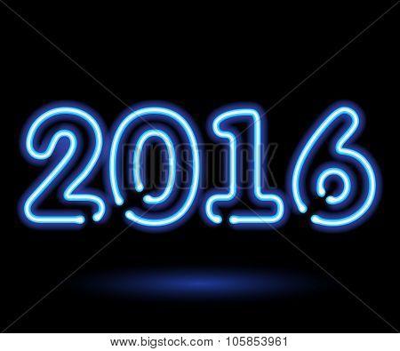Blue neon light glowing 2016 happy new year symbol.