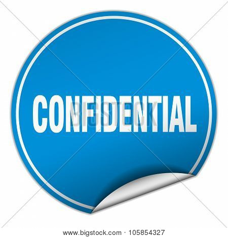 Confidential Round Blue Sticker Isolated On White