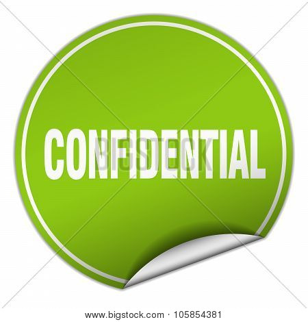 Confidential Round Green Sticker Isolated On White